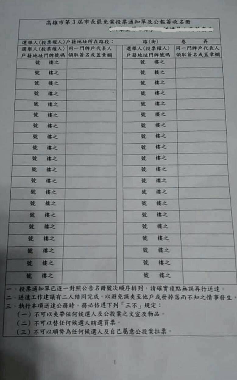 高市選委會說明,分送投票通知單與公報要求簽名是早期作法,沒有違法、也沒強制性。(記者王榮祥翻攝)