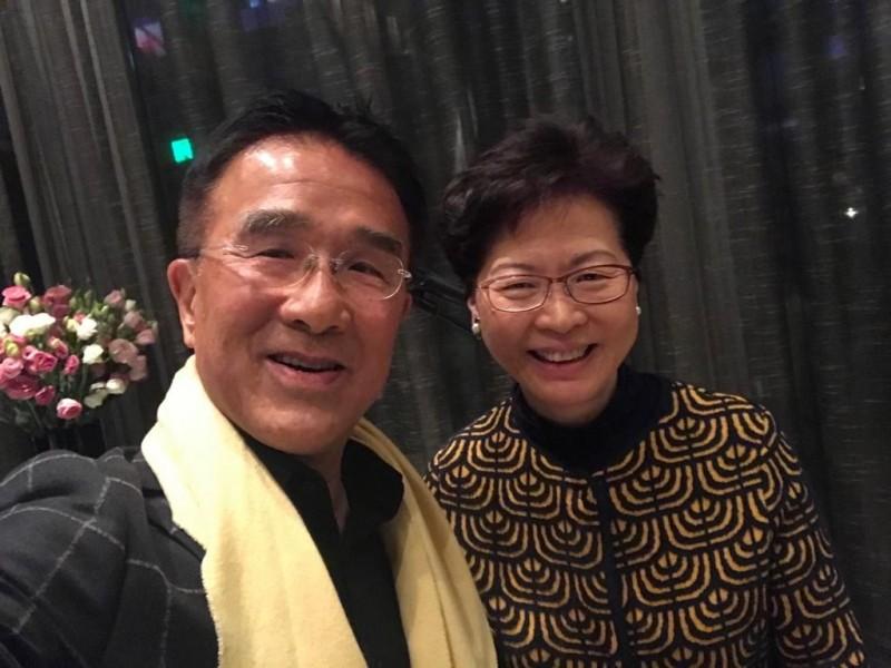 多名中國網友在微博爆料,指前中國全國人大香港區代表田北辰(圖左)就是在「港版國安法」表決中投下唯一反對票的人,就是。圖右為香港特首林鄭月娥。(圖擷取自田北辰臉書)