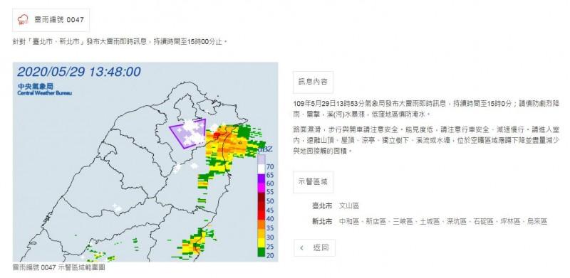 氣象局針對台北市、新北市發布大雷雨即時訊息。(氣象局提供)