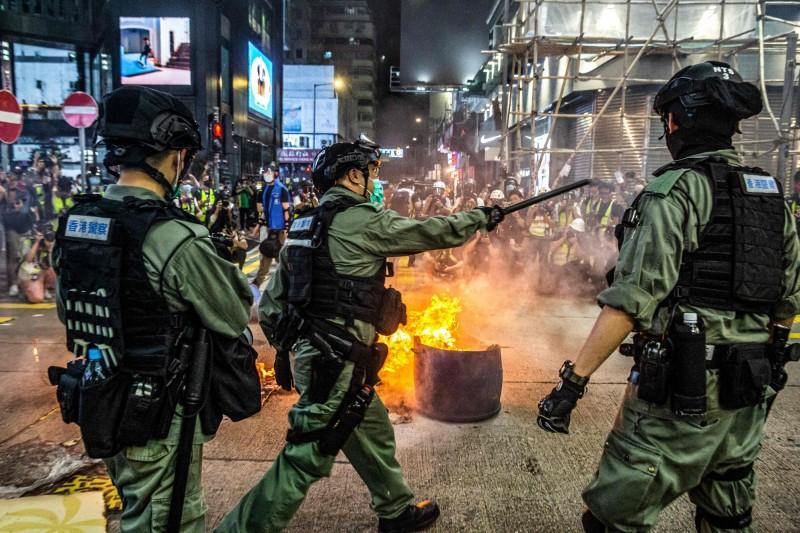 港版國安法及國歌法再度引發香港示威抗議潮。(法新社)