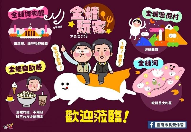 台南市長黃偉哲臉書PO圖,趣味宣傳阿中部長台南遊「長肉肉之旅」,胖3公斤才能回家。(擷自臉書)