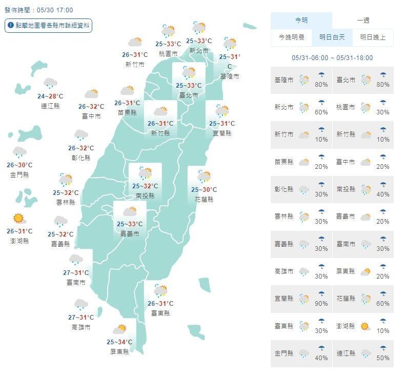 明天各地多雲到晴,留意午後熱對流,清晨舒適白天悶熱,注意防曬補水。(圖擷取自中央氣象局)