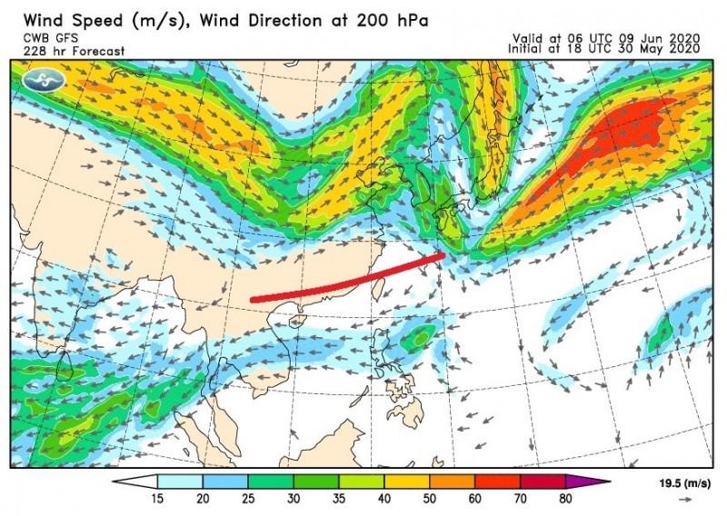 中央氣象局代理局長鄭明典今在臉書表示,台灣上空出現偏東風時,這是「出梅」的指標,而今年梅雨落在山區的總量不多,若這樣就出梅,不是個好現象。(圖取自鄭明典臉書)