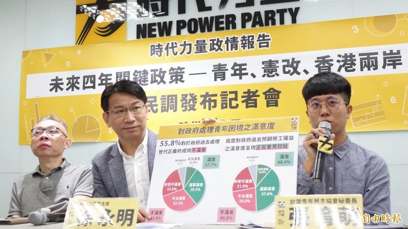 時代力量主席徐永明等人,31日舉行記者會就蔡政府「未來四年關鍵政策~青年、憲政、香港兩岸」發布民調數據。(記者叢昌瑾攝)