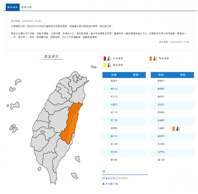 氣象局對花蓮縣發布高溫警示,提醒民眾明天中午可能出現36度以上高溫。(擷取自中央氣象局)