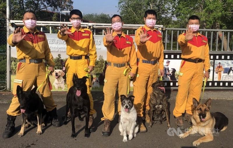 搜救犬「希望」(左一)在退役前,與內政部消防署特搜隊人員及其他犬隻一起合照。(資料照,消防署特搜隊提供)