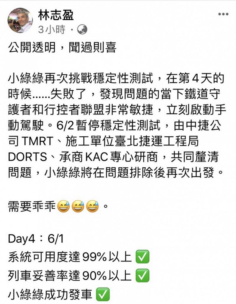 台中捷運公司董事長林志盈在臉書表示,捷運綠線再度挑戰穩定性測試,但在昨日失敗。(翻攝自林志盈臉書)