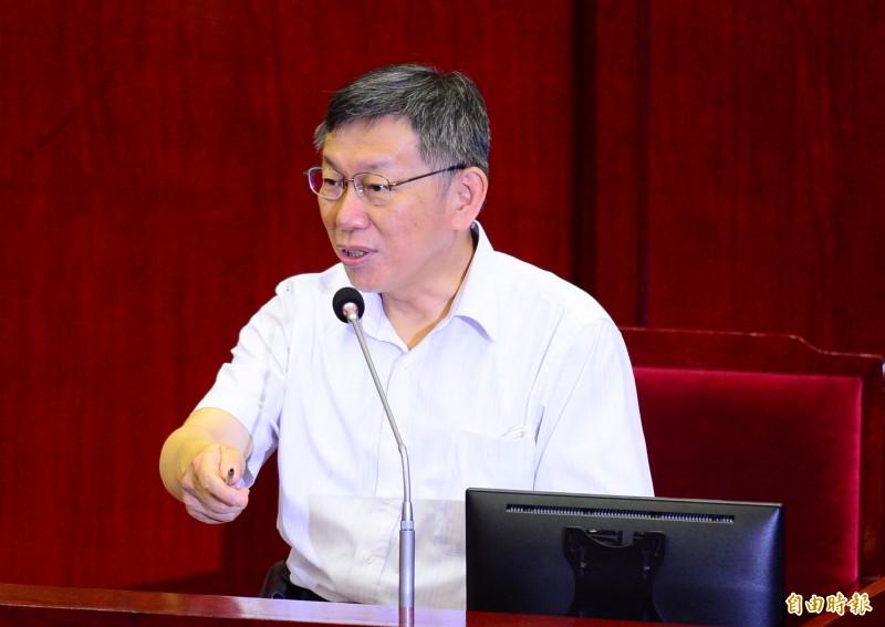 台北市長柯文哲出席台北市議會總質詢,會中接受議員質詢。(記者王藝菘攝)