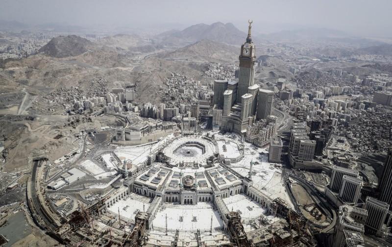 印尼取消今年的朝覲之旅。圖為麥加大清真寺鳥瞰圖。(歐新社)