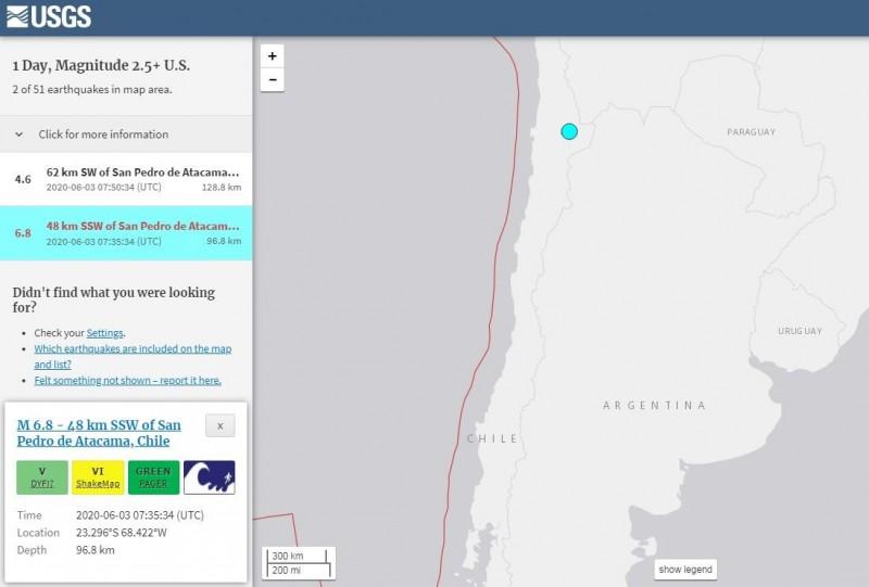 智利發生芮氏規模6.8強震。(擷取自USGS)