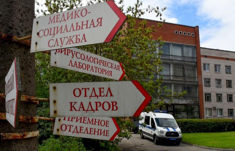 聖彼得堡的武漢肺炎主要治療中心博特金醫院發生火災,導致1人死亡。(法新社)