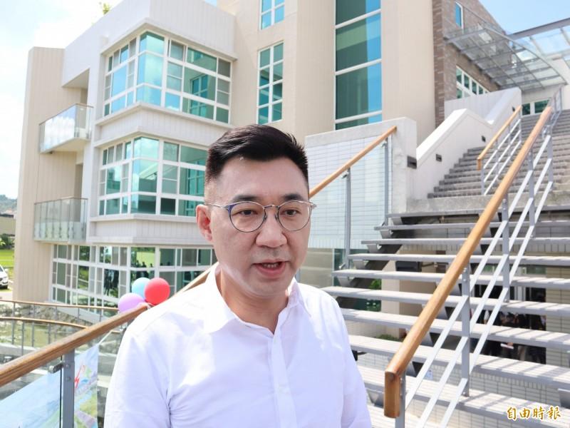 國民黨主席江啟臣今天出席豐原水資源回收中心啟用典禮。(記者歐素美攝)