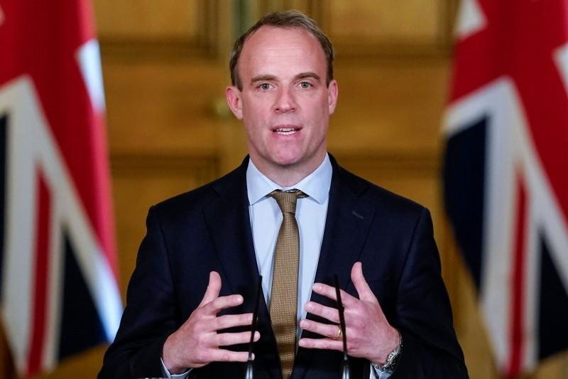 英國外交大臣拉布(Dominic Raab)。(法新社資料照)