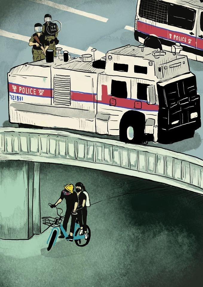 香港插畫家謝曬皮4日發表「六四事件的歷史重演於香港」畫作,悲嘆1989年中國當局在北京天安門,血腥鎮壓學生訴求民主開放的和平運動,在31年後的今天,中國當局依然血腥鎮壓港人追求民主自由的示威運動。(香港插畫家謝曬皮 TSE SAI PEI the incapable授權提供)