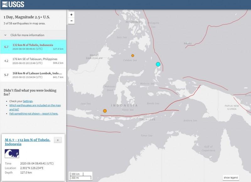 印尼今日下午發生芮氏規模6.7強震。(擷取自USGS)