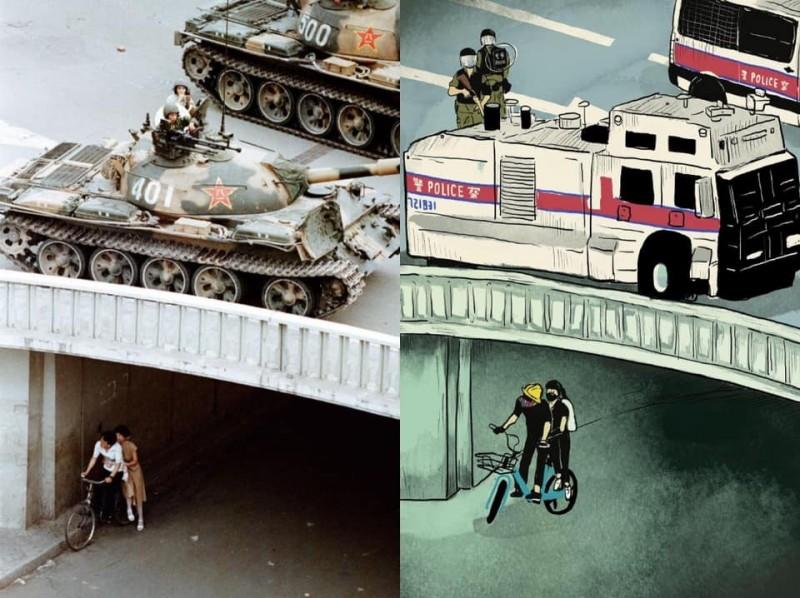 香港插畫家謝曬皮4日發表「六四事件的歷史重演於香港」畫作(圖右),悲嘆1989年中國當局在北京天安門血腥鎮壓學生訴求民主開放的和平運動,在31年後,中國當局依然血腥鎮壓港人追求民主自由的示威運動,諷刺即使時空置換了,中國當局暴力鎮壓人民的非法手段卻未曾改變。圖為網友合成圖。(圖擷取自臉書)