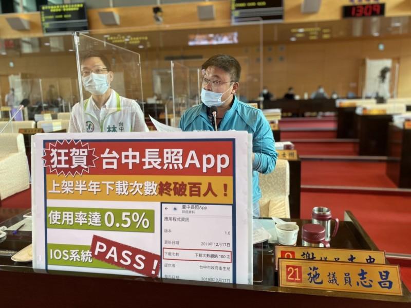 中市長照APP上架半年下載次數「破百」,議員批「蚊子APP」。(圖:施志昌提供)