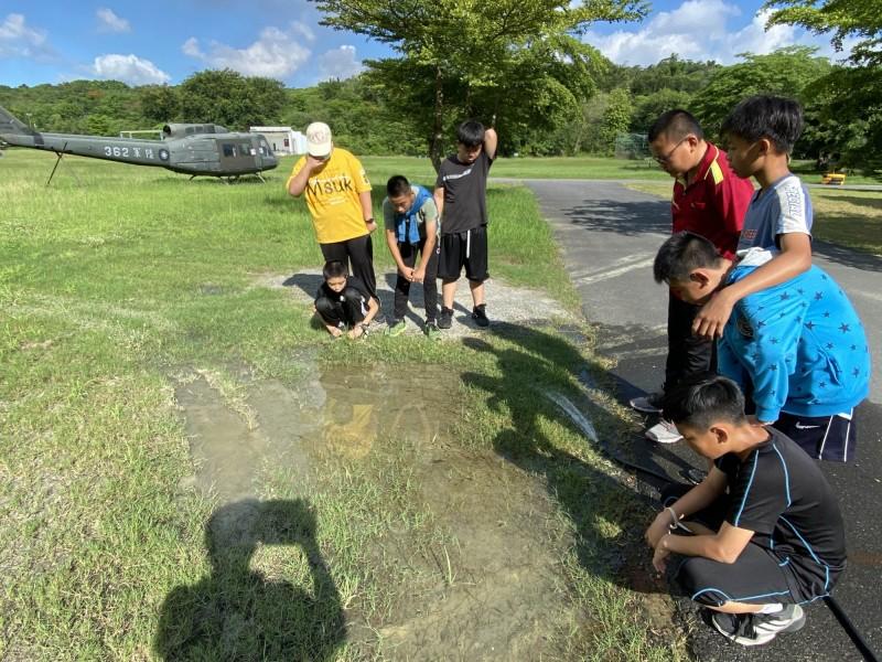 澤蛙將卵產在軍隊營區外小窪地,小學生每天補水搶救。(記者洪臣宏翻攝)
