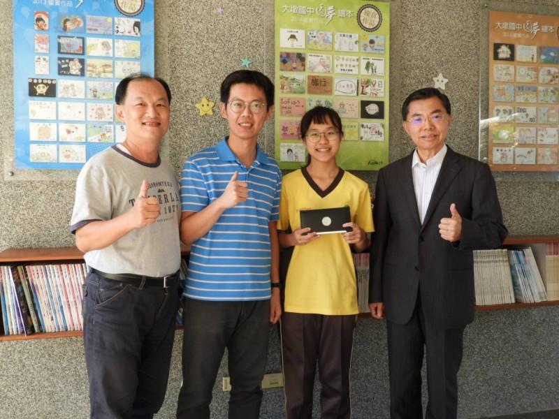 中市最「年輕」的大墩國中10年磨1劍,出現首名會考大滿貫滿分生。(圖:大墩國中提供)