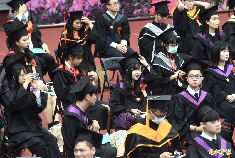國立台灣大學108年學年度畢業典禮,6日在綜合體育館舉行。(記者簡榮豐攝)