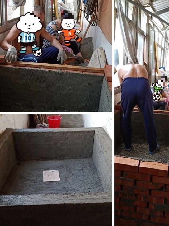 原PO貼出父母正努力建造戲水池的工作照。(圖擷自爆廢公社)