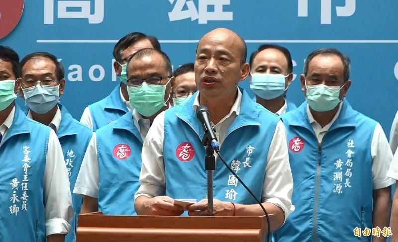 圖為韓國瑜在市長罷免投票開票後致詞畫面。(資料照)