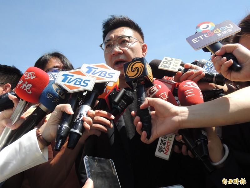 國民黨主席江啟臣(見圖)今呼籲外界,選舉已結束,別在他人傷口上撒鹽。(記者王榮祥攝)