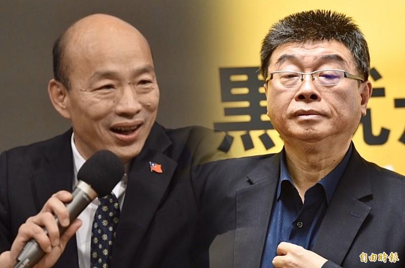 李戡主張,韓國瑜(左)可出任汕頭市長,邱毅(右)可成為藍營補選候選人。(資料照,本報合成)