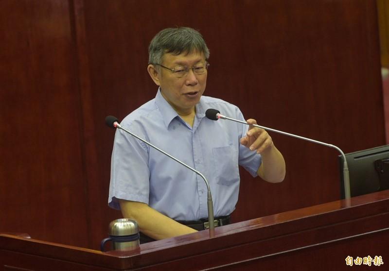 台北市長柯文哲9日出席市政總質詢。(記者張嘉明攝)