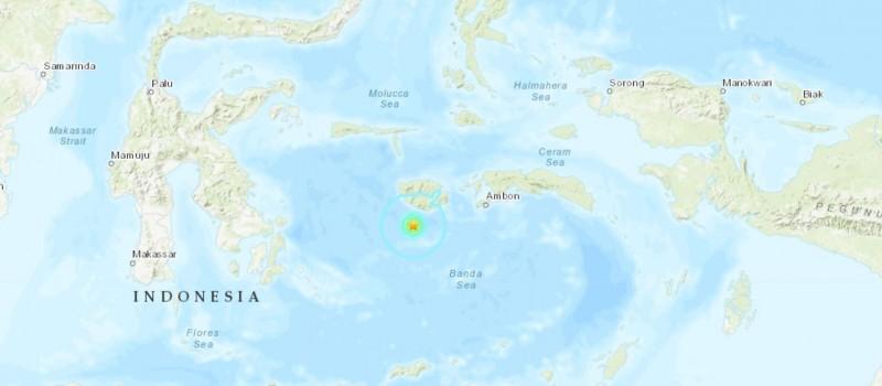 印尼內海班達海今中午驚傳規模5.6強震,所幸暫未發布海嘯警報。(圖擷自USGS)