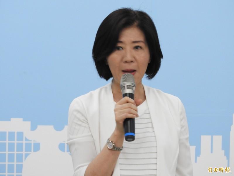 誰代表藍營參選高雄市長?國民黨文傳會主委王育敏表示,江主席已徵詢過4、5位人選,都是高雄在地優秀人選。(記者葛祐豪攝)