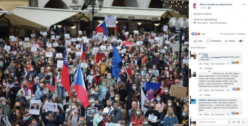 捷克參議院議長維特齊9日宣布將在8、9月造訪台灣,捷克首都布拉格同天也傳出,有數千名民眾上街抗議政府過於親中,還手持中華民國國旗聲援台灣。(圖擷自Facebook「Milion chvilek pro demokracii」)