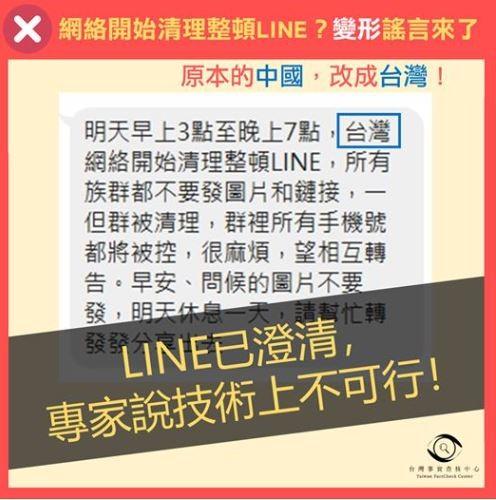 近日網傳台灣將開始清理整頓LINE,查核中心表示是舊謠言重傳。(圖擷自TFC 台灣事實查核中心)
