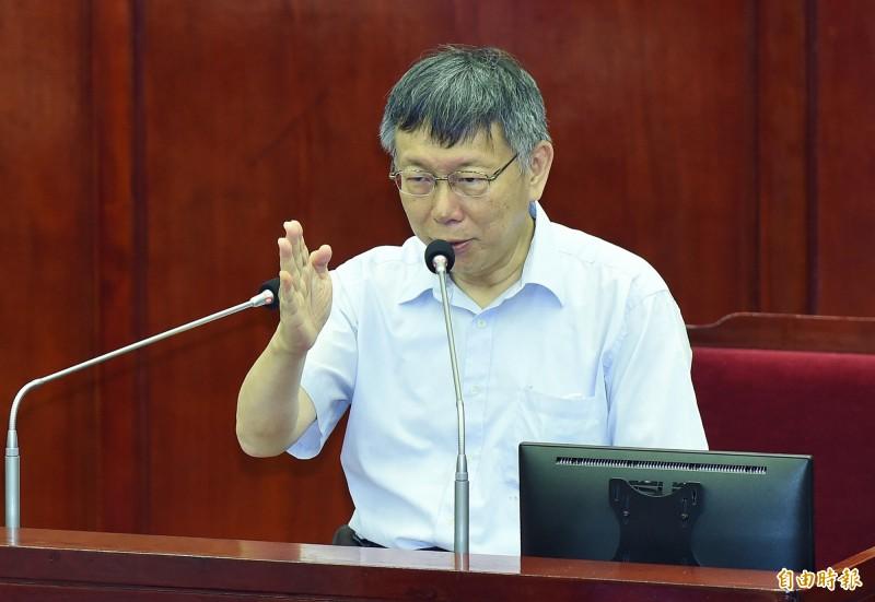 台北市長柯文哲11日出席市議會市政總質詢。(記者廖振輝攝)