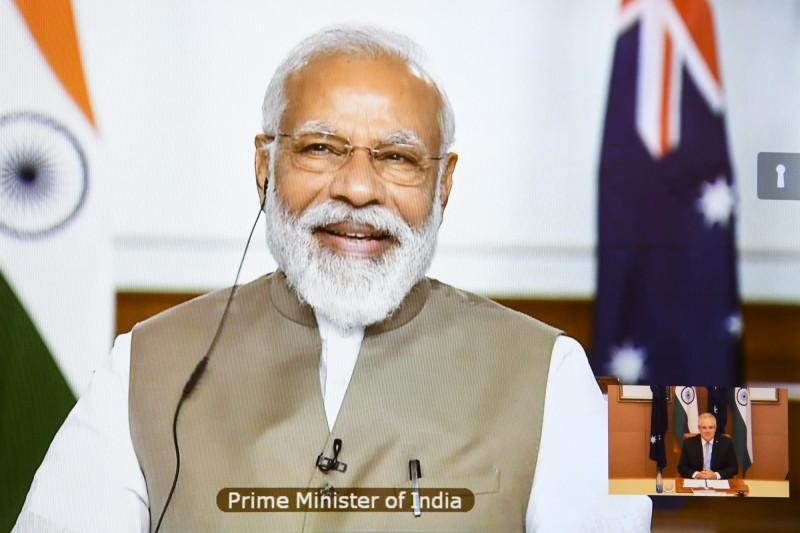 美國國際宗教自由委員會(USCIRF)先前想至印度評估宗教自由,未料遭到印度政府拒發簽證回絕,印度當局稱外國機構無權力評估印度公民的憲法權力,圖為印度總理莫迪。(歐新社)