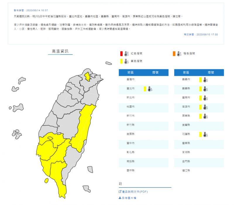 氣象局針對7個縣市發布「黃色燈號」。(擷取自中央氣象局)