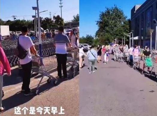 儘管官方已經調貨應急,但仍有北京市民今天一早就前往超市掃貨,有人PO出市場外「搶菜潮」的影片,畫面中可見超市蔬菜全被一掃而空,架上空空如也,而市場外的排隊人龍更是深不見底。(圖擷取自微博)