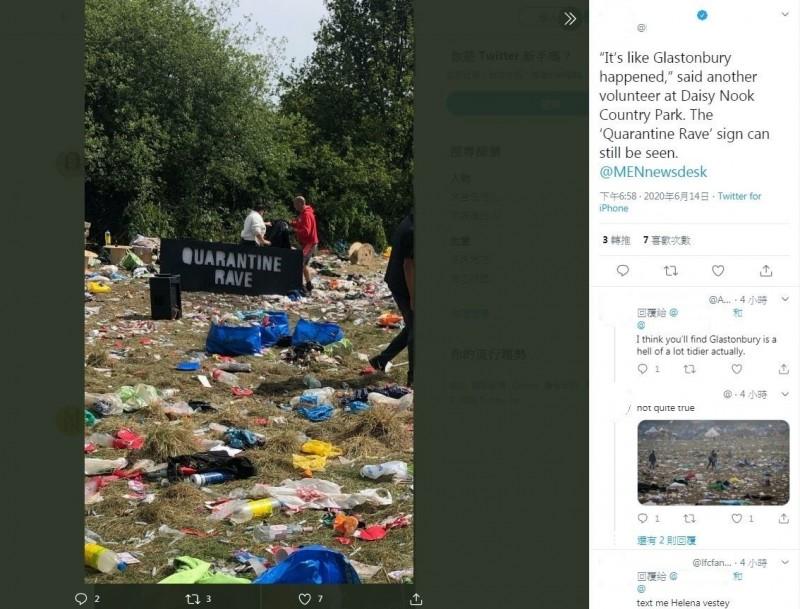 英國曼徹斯特13日出現幾場大型非法集會派對,估計約有6000人參加,期間有1名20歲男子吸毒過量死亡、1名18歲剛成年女子遭性侵、3名男子遭刺傷。圖為派對結束後現場畫面。(圖擷取自推特)