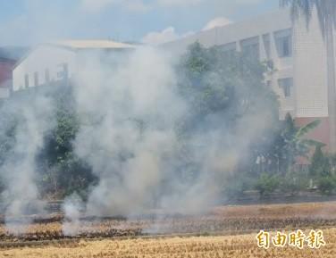 鑑於焚燒稻草等露天燃燒行為嚴重影響空氣品質,南投縣環保局今年起將找地主負責。(資料照,記者張協昇攝)