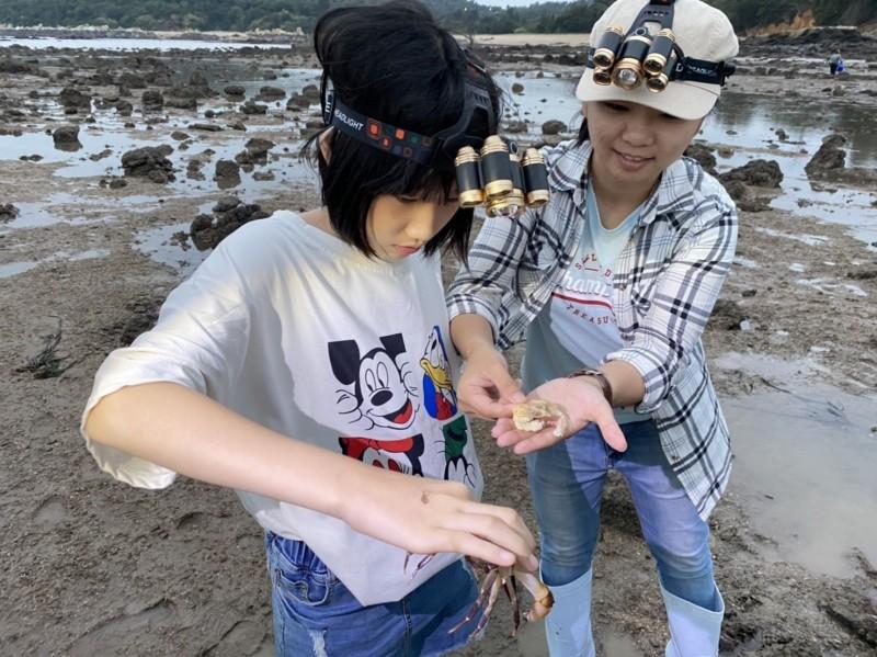 金門推出「親子嘉年華」體驗項目之一的潮間帶生態體驗。(圖:金門縣政府提供)