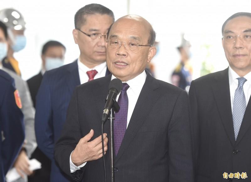 行政院長蘇貞昌15日出席警政署刑事警察局記者會。(記者簡榮豐攝)