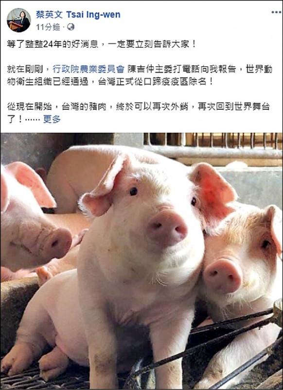 總統蔡英文貼文慶祝。(取自臉書)
