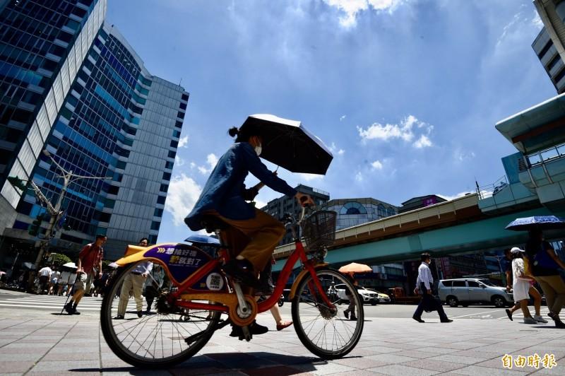 台北今日下午飆出37.6度高溫。(記者羅沛德攝)