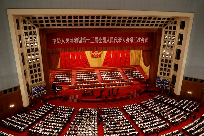 根據新華社報導,「港版國安法」並未被列入18至20日舉行的全國人大常委會議議案,但已被列為今年內要「加快制定」的法律。(路透資料照)
