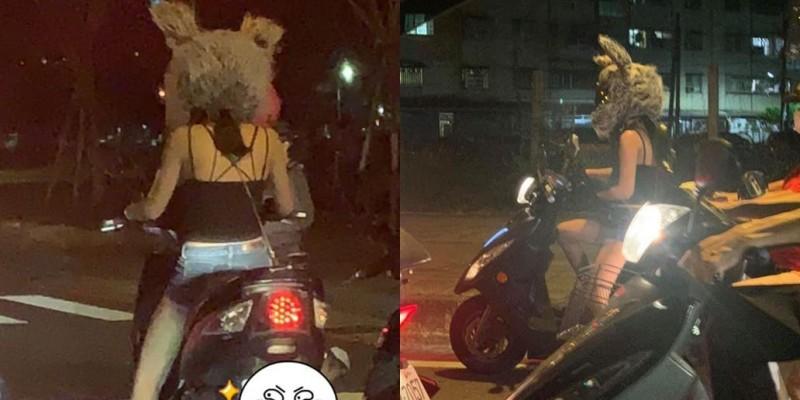 有民眾發現,道路上1名女騎士的安全帽呈現兔子造型。(圖取自爆料公社)