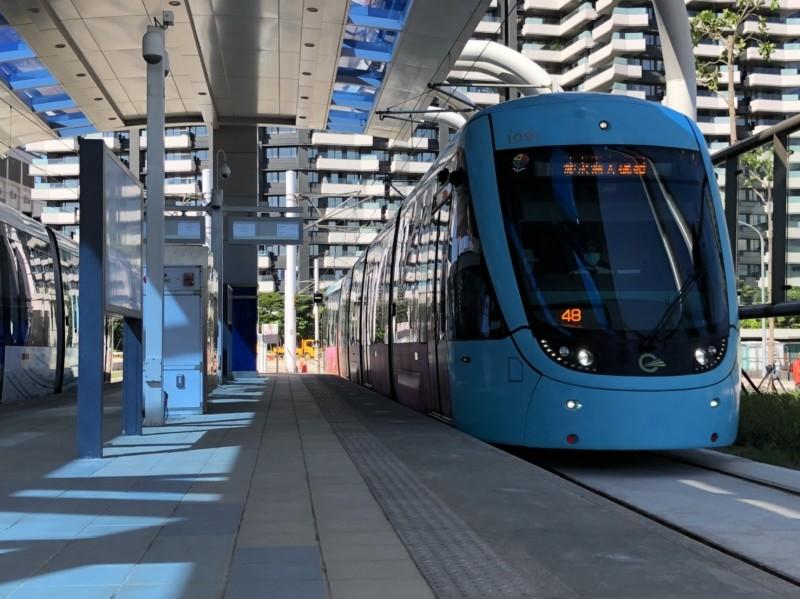淡海輕軌第一期藍海線穩定性測試過關,拚年底通車。(新北市政府捷運局提供)
