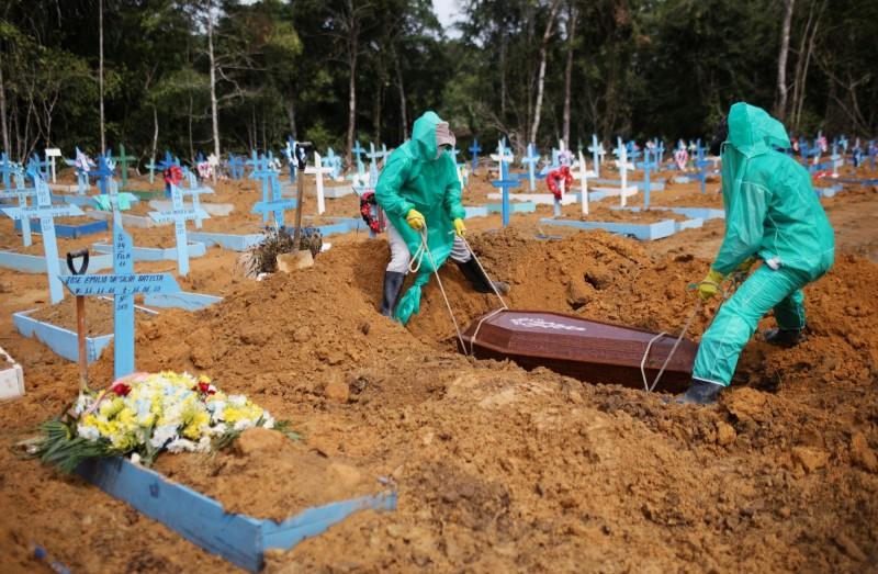 武漢肺炎疫情肆虐,過去1天全球單日新增逾14.1萬例,目前累計確診已突破833萬,死亡則是逾44.8萬人。巴西的確診及死亡病例持續暴增中,日增量全球最高,累計確診病例僅次於美國。(路透)