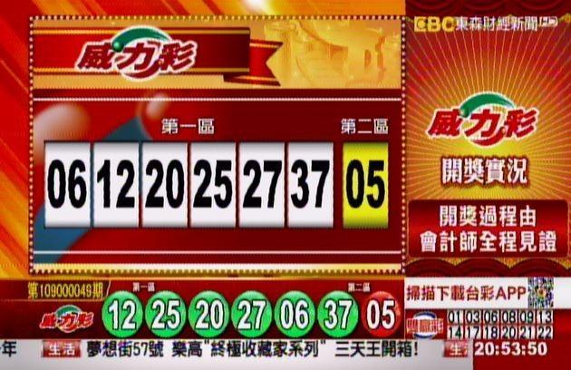 威力彩、38樂合彩開獎號碼。(圖擷取自東森財經新聞57彩券王)