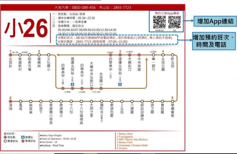 台北市公共運輸處7月1日起,小26、542、小14三條路推出公車預約功能。(記者蔡亞樺翻攝)