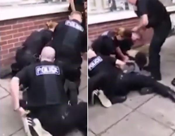 英國非裔男子法蘭西斯去年被超過10名警員當街逮捕,過程中多人合力將其壓制,影片中可聽見法蘭西斯高喊「我無法呼吸」。(擷取自YouTube)